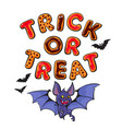 trick or treat letters in shape of halloween vector image