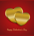 two golden hearts for valentine card vector image