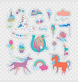 unicorn stickers set vector image vector image