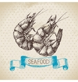Vintage sea background Hand drawn sketch seafood vector image vector image