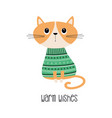 warm wishes card with cat vector image vector image