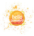 watercolor sun hello summer vector image vector image
