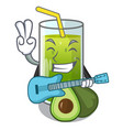 with guitar avocado smoothies are isolated on vector image vector image