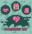 valentines day flat concept icons vector image