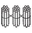 3 bundles of ten sticks vintage vector image vector image