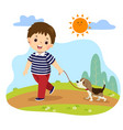 a boy taking his dog for a walk outdoors vector image vector image