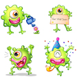 Activities of the green one-eyed monster vector image vector image