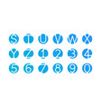 alphabet letters numbers logo blue icons vector image
