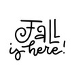 autumn lettering calligraphy phrase - fall is here vector image