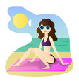 beautiful girl in bikini on a beach vector image vector image