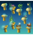 Big set of underwater ancient columns vector image
