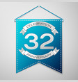 blue pennant with inscription thirty two years vector image vector image