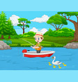 cartoon boy fishing on a boat vector image vector image