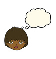 cartoon girl staring with thought bubble vector image vector image