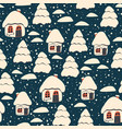 christmas seamless pattern with houses vector image