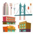 city buildings bridge modern architecture set vector image