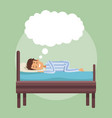 colorful scene boy dreaming in bed at night with vector image vector image