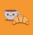 delicious croissant and coffee kawaii vector image vector image