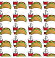 delicious mexican tacos with tasty fries french vector image vector image