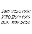 different funny calligraphy ink of 2020 vector image