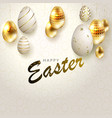 easter light beige composition with a set of gold vector image vector image