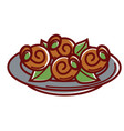 escargot with fresh leaves on plate isolated vector image
