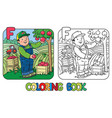 farmer coloring book alphabet f profession abc vector image