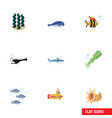 flat icon marine set of tuna alga periscope and vector image vector image