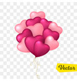 flying bunch of heart shaped balloon vector image vector image