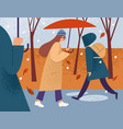 girl with umbrella walking alone in street vector image vector image