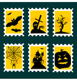 Halloween postal stamps vector image vector image