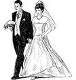 hand drawing happy bride and groom vector image vector image