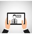 hands holding tablet journalist news