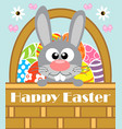 happy easter background card with rabbit vector image vector image