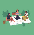 happy young friends sitting on blanket in park vector image vector image