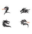 head dragon flat color logo template vector image vector image
