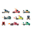 high speed heavy trucks set cars with powerful vector image
