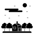 House in forest night icon vector image