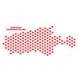 kangaroo island map - mosaic of valentine hearts vector image vector image