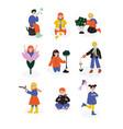 kids spring or summer outdoor activities set vector image vector image