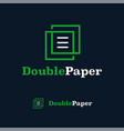 logo design template double paper monogram line vector image