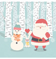 Merry Christmas card Santa Claus snowman rabbit vector image