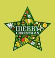 merry christmas retro watercolor folk star card vector image vector image