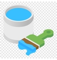 Paint and paint brush isometric 3d icon vector image vector image
