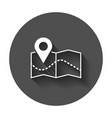 pin on the map icon map gps with long shadow vector image