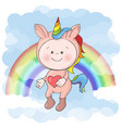 postcard print with a cute baby in a unicorn vector image