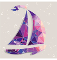 Retro ship background made of triangles vector image vector image