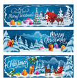 santa claus christmas gifts and reindeer sleigh vector image vector image