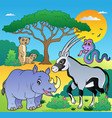 savannah scenery with animals 1 vector image vector image