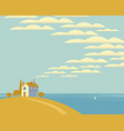 seascape with a village house on a hill vector image vector image
